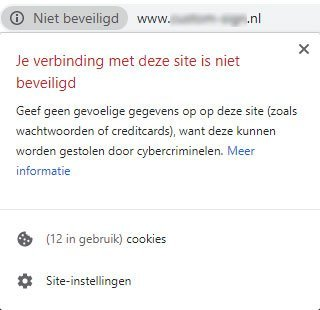 Onveilige website melding Google Chrome
